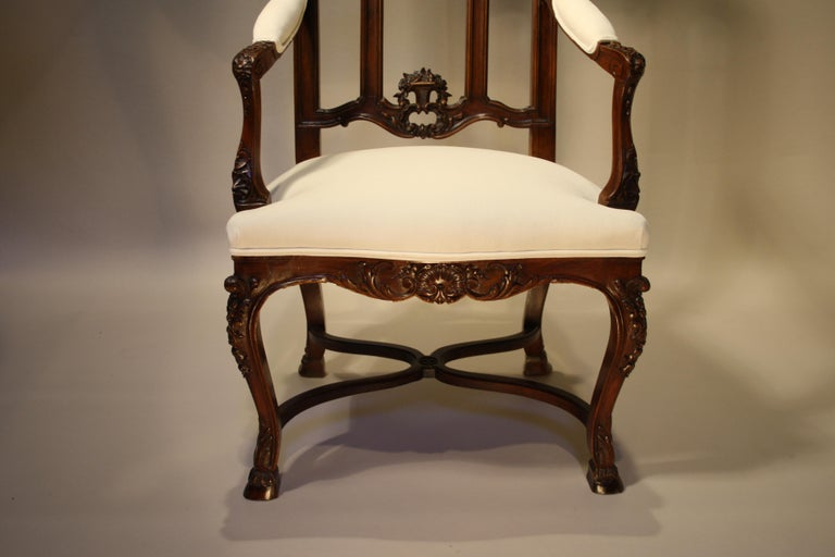 Pair of French Walnut Armchairs, 19th Century For Sale 1