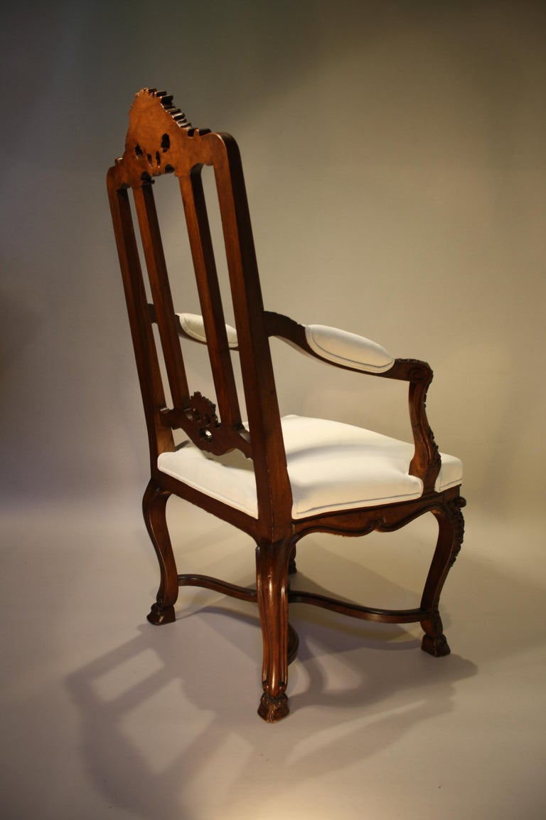 Pair of French Walnut Armchairs, 19th Century For Sale 3