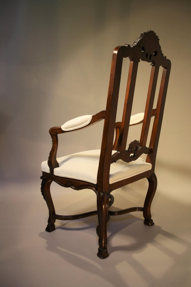 Pair of French Walnut Armchairs, 19th Century For Sale 4