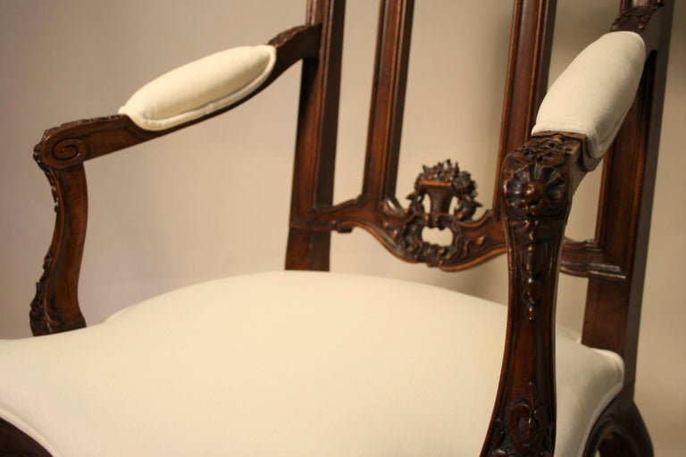 Pair of French Walnut Armchairs, 19th Century For Sale 5