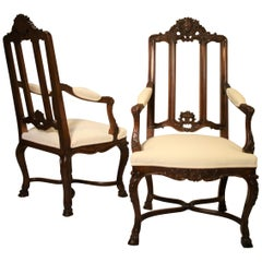 Pair of French Walnut Armchairs, 19th Century