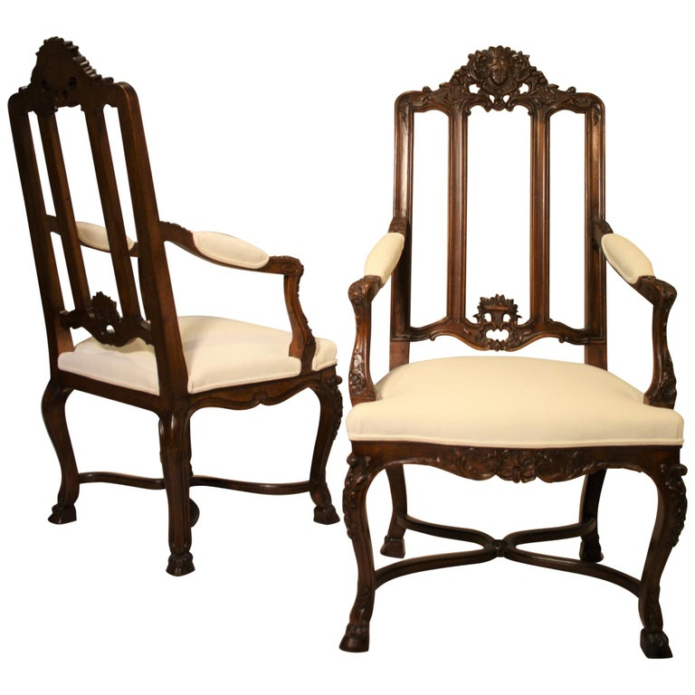 Pair of French Walnut Armchairs, 19th Century For Sale