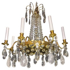Pair of French Rock Crystal and Gilt Bronze Chandeliers