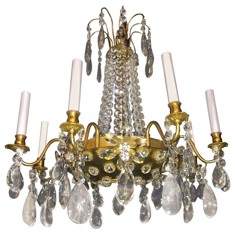 Pair of French Rock Crystal and Gilt Bronze Chandeliers For Sale