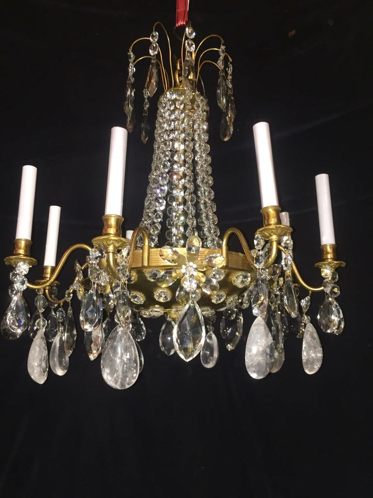 Louis XVI Pair of French Rock Crystal and Gilt Bronze Chandeliers For Sale