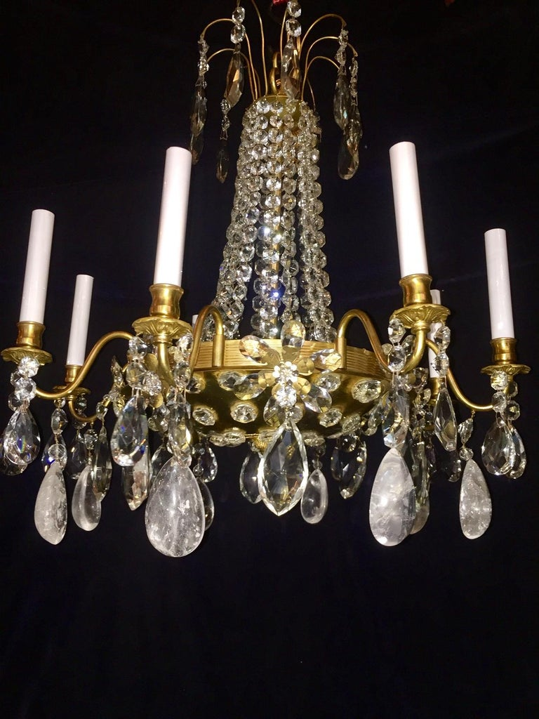 Hand-Carved Pair of French Rock Crystal and Gilt Bronze Chandeliers For Sale
