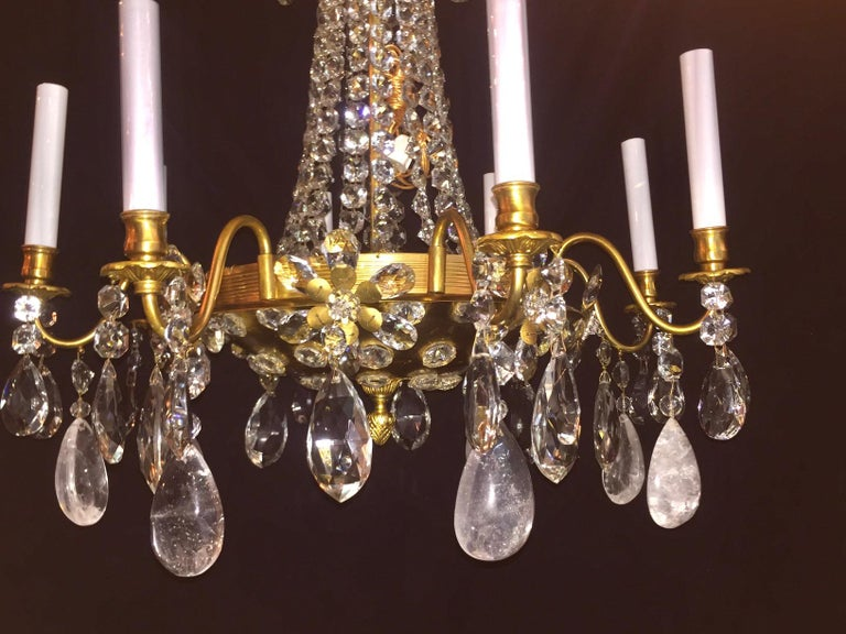 Pair of French Rock Crystal and Gilt Bronze Chandeliers In Good Condition For Sale In New York, NY