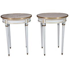 Pair of French Louis XVI Blue Lacquered White Marble-Top Guéridon End Tables