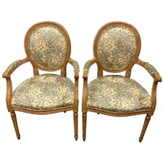 Pair of French Louis XVI Carved Oval Back Fruitwood Armchairs Kravet Fabric