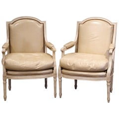 Pair of French Louis XVI Carved Painted Armchairs with Beige Leather Upholstery