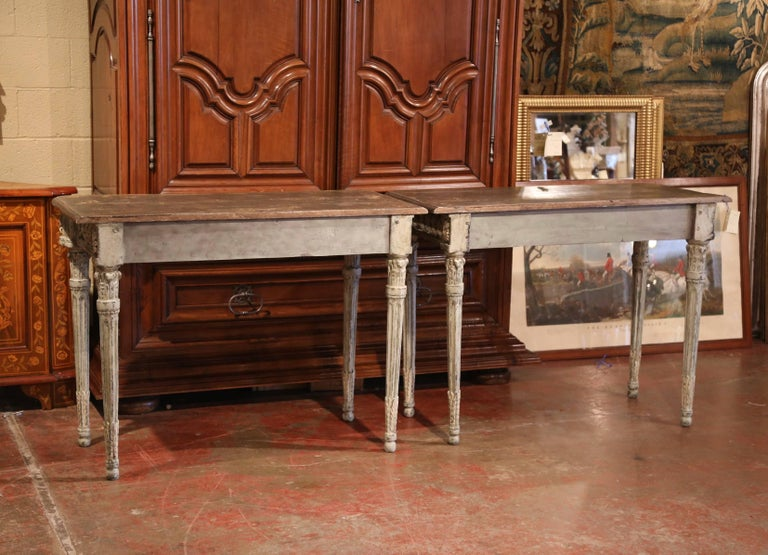 Pair of French Louis XVI Carved Polychrome Painted Four-Leg Consoles Tables  For Sale 4