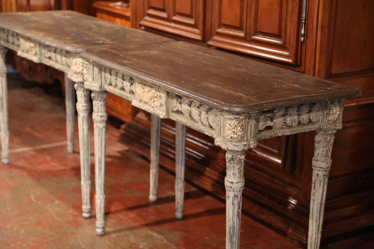 Pair of French Louis XVI Carved Polychrome Painted Four-Leg Consoles Tables  For Sale 1