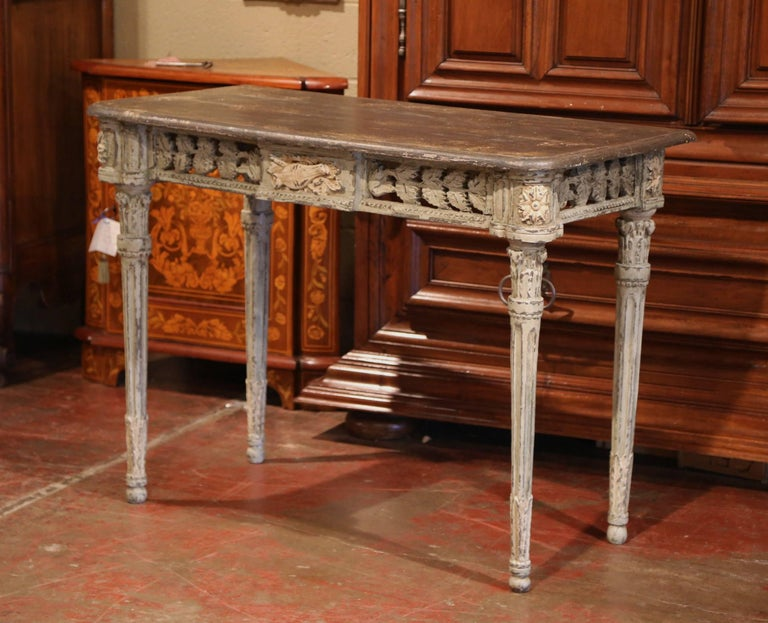 Pair of French Louis XVI Carved Polychrome Painted Four-Leg Consoles Tables  For Sale 2