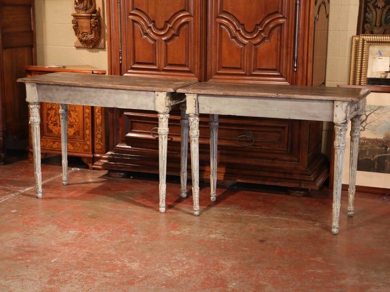 Pair of French Louis XVI Carved Polychrome Painted Four-Leg Consoles Tables  For Sale 3