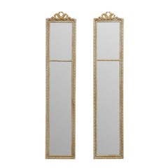 Pair of French Louis XVI Carved Wood Wall Panel Mirrors from Mid-20th Century