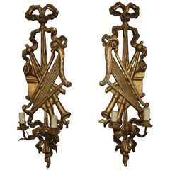 Pair of French Louis XVI Giltwood Sconces