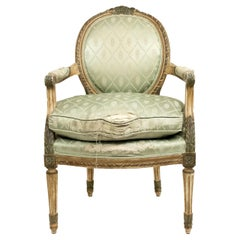 Pair of French Louis XVI Green Silk Armchairs
