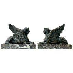 Pair of French Louis XVI Late 18th Century Bronze and Marble Sphinxes