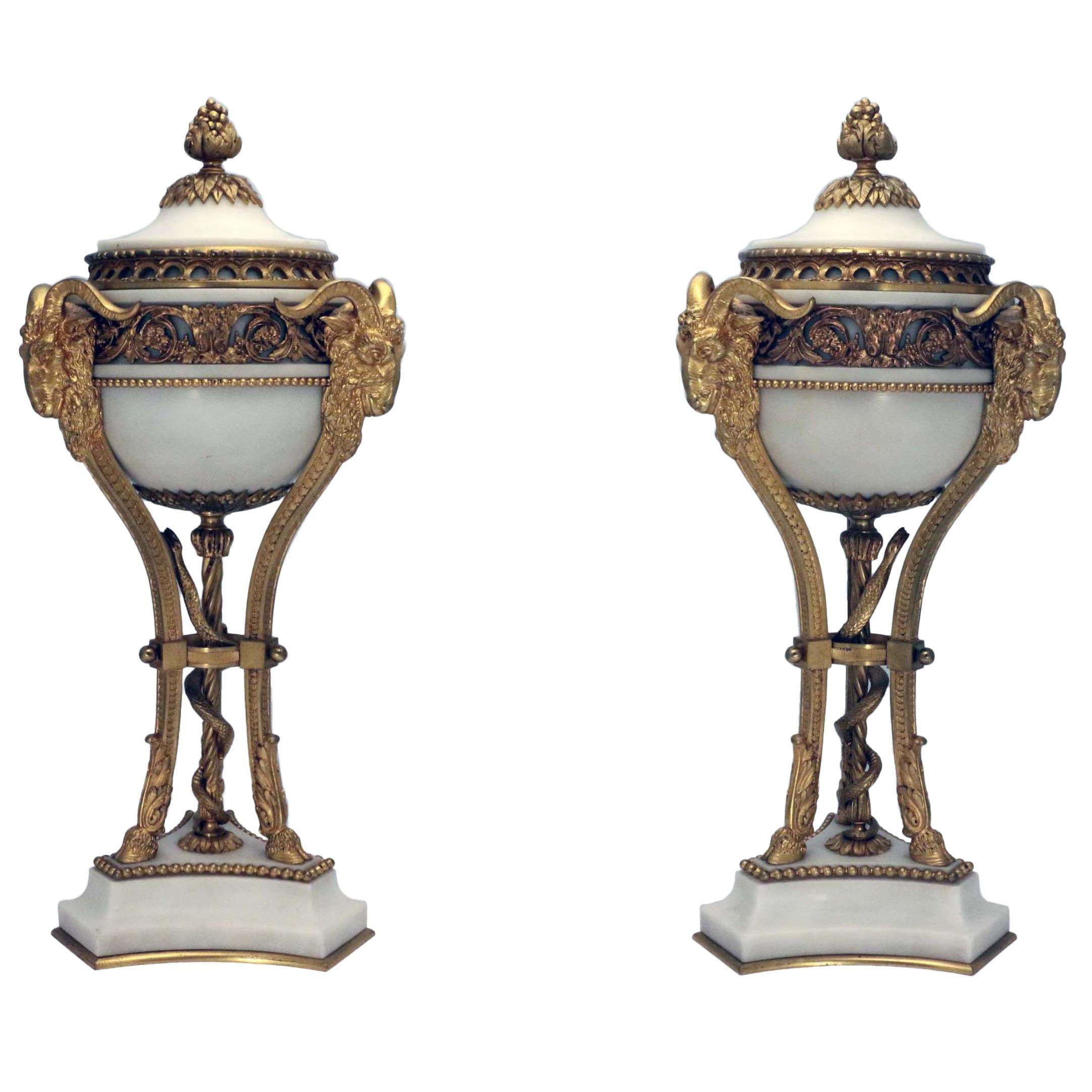 Pair of French Louis XVI Marble Gilt Bronze Ormolu Brule Parfumier