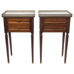Pair of French Louis XVI Marble-Top Side Tables