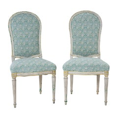 Pair of French Louis XVI Newly Upholstered Painted Side Chairs