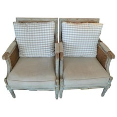 Pair of French Louis XVI Rush and Fabric Armchairs with Two Cushions Each