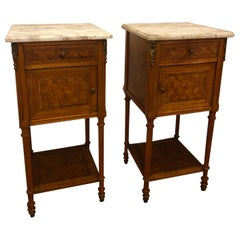 Pair of French Louis XVI Side Tables with Marble Tops