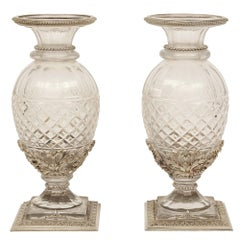 Pair of French Louis XVI Style Baccarat Cut Crystal and Silvered Bronze Vases