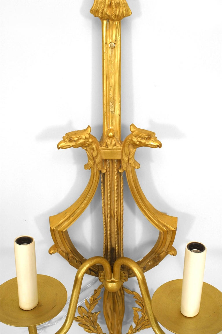 Pair of French Louis XVI Style '19th Century' Two-Arm Gilt Bronze Wall Sconces In Good Condition For Sale In New York, NY