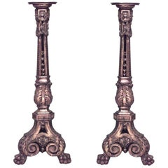 Pair of French Louis XVI Style 19th Century Carved Gilt Pedestals