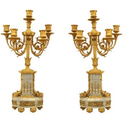 Pair of French Louis XVI Style '19th Century' Five Scroll Arm Candelabras