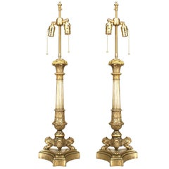 Pair of French Louis XVI Style 19th Century Gilt Bronze Table Lamps