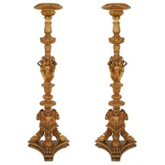Pair of French Louis XVI Style, 19th Century Gilt Pedestals