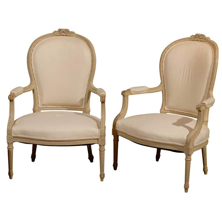 Pair of French Louis XVI Style 19th Century Painted Armchairs with Carved Decor For Sale