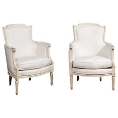 Pair of French Louis XVI Style 19th Century Painted Upholstered Bergère Chairs