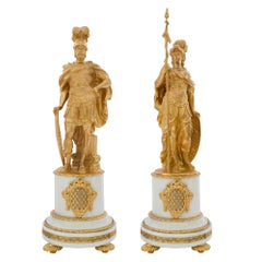 Pair of French Louis XVI Style 19th Century Statue Depicting Mars and Minerva