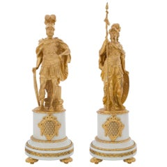 Pair of French Louis XVI Style 19th Century Statues of Mars and Minerva