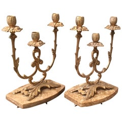 Pair of French Louis XVI Style '19th Century' Three Scroll Arm Candelabras
