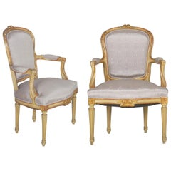 French Louis XVI Style Antique Distressed Painted Armchairs, 19th Century, Pair