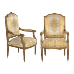 Pair of French Louis XVI Style Antique Fauteuil Armchairs, 20th Century