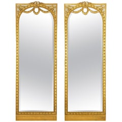 Pair of French Louis XVI Style Antique Full-Length Mirrors, circa 1900