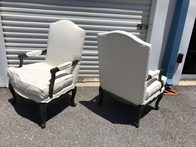 Painted Pair of French Louis XVI Style Armchairs Bergere For Sale