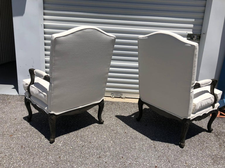 Pair of French Louis XVI Style Armchairs Bergere In Excellent Condition For Sale In Sarasota, FL
