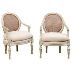 Pair of French Louis XVI Style Armchairs with Caned Backs and Upholstered Seats