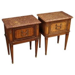 Pair of French Louis XVI Style Bedside Tables, 20th Century