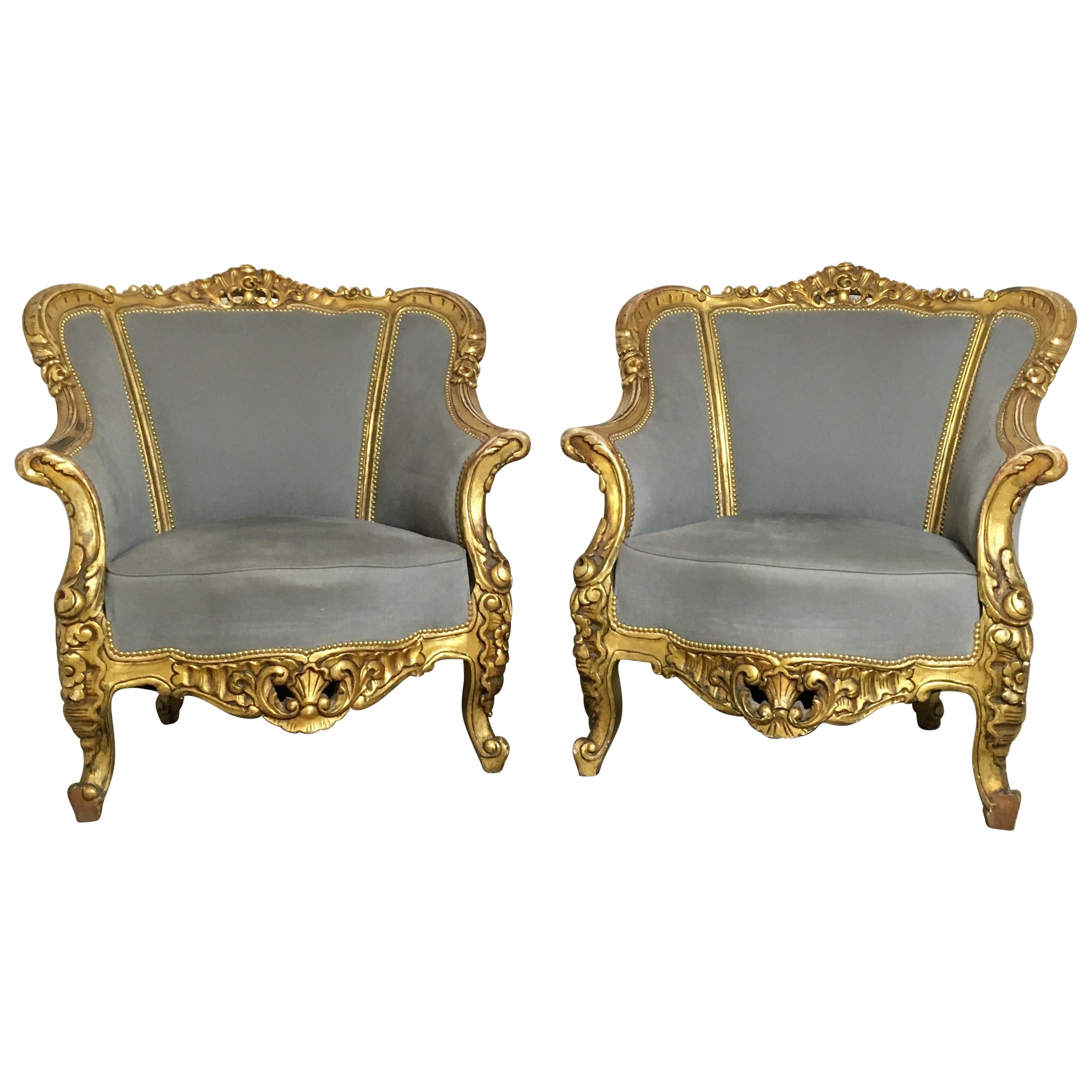 Pair of French Louis XVI Style Bergère Chairs