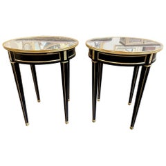 Pair of French Louis XVI Style Black Lacquered and Brass Side Tables
