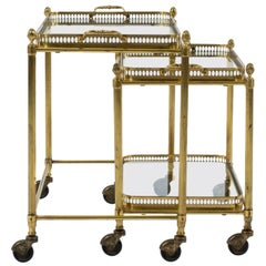 Pair of French Louis XVI Style Brass Tables