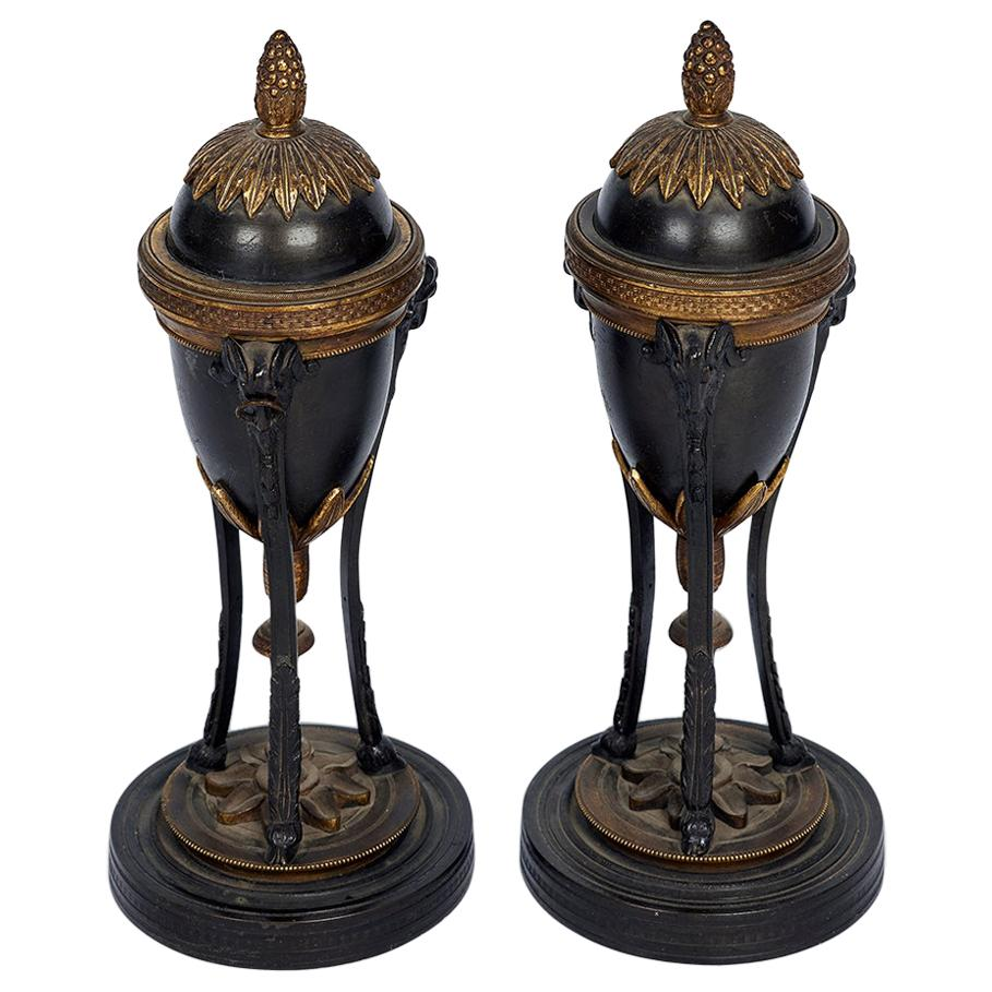 Pair of French Louis XVI Style Bronze and Ormolu Cassolettes