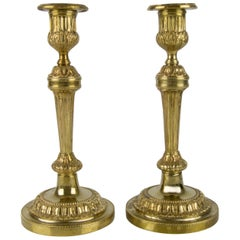 Pair of French Louis XVI Style Bronze Candlesticks or Candleholders, 1920s